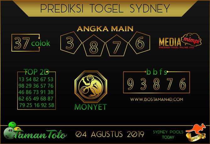 Prediksi Togel SYDNEY TAMAN TOTO 04 AGUSTUS 2019