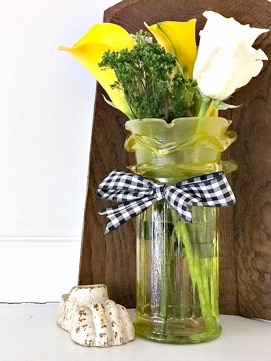 Faux yellow depression glass flower vase