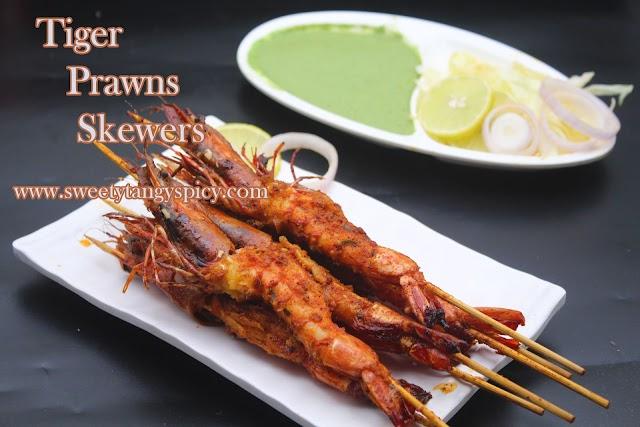 Spicy shrimp Indian Style | Tiger Prawns Skewers Recipe Indian Style | Tiger Prawns Kerala Recipe | Shrimp Kerala Recipe