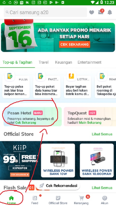 Menu Home Tokopedia
