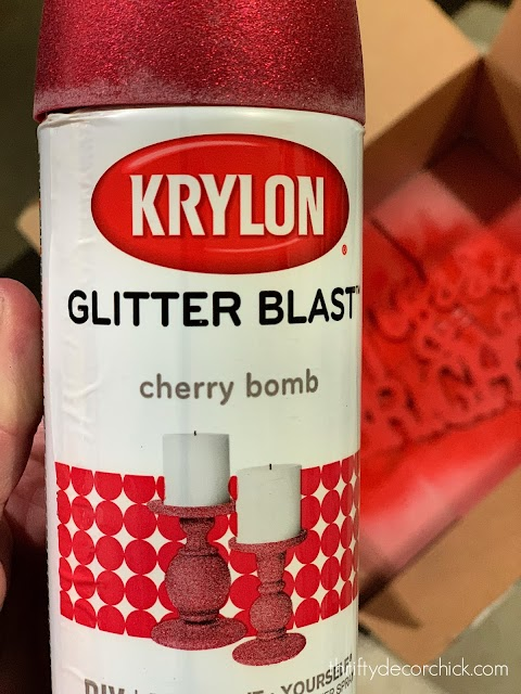 Red glitter spray paint for holiday project