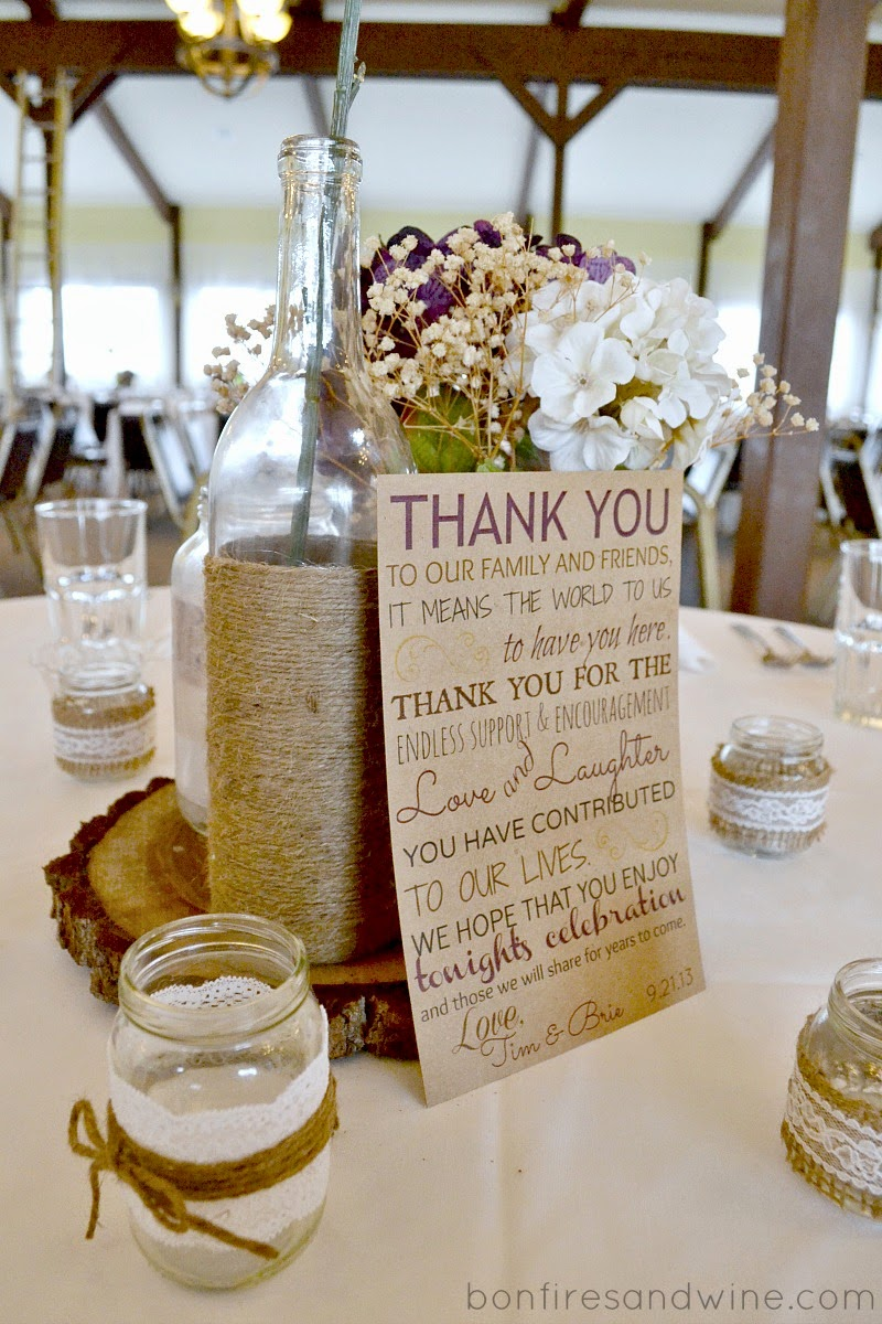 bonfires and wine thank you card for wedding reception