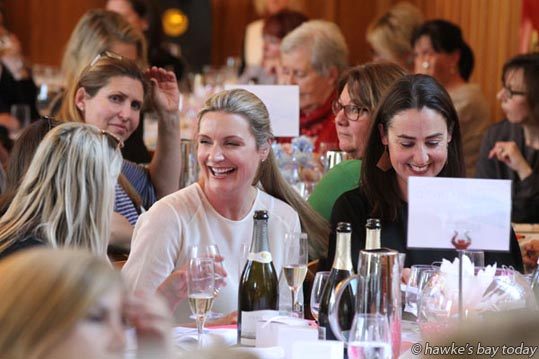 L-R: Caroline Meo, Napier, Marea Carney, Napier, Amelia Riwai, Napier, at Business Belles Charity Lunch and Auction at The Mission Estate Winery and Restaurant, Taradale, Napier, a fundraiser for Child Cancer Foundation. photograph
