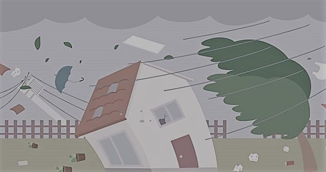 暴風で木と家が傾いているイラスト