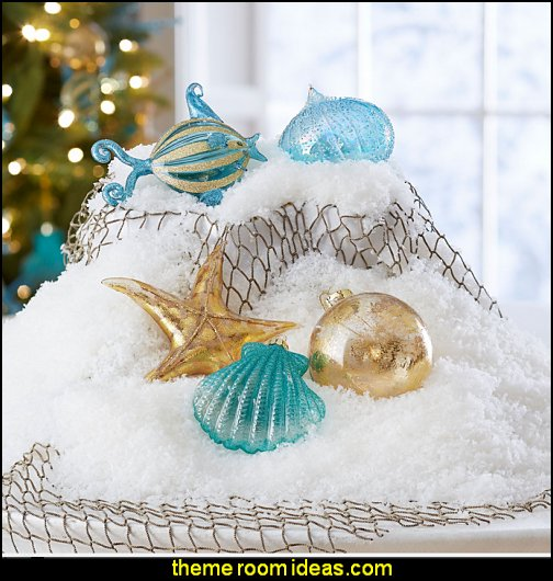Coastal Ornaments  Coastal Christmas decorating theme - coastal Christmas decor - beach christmas  - Beach Christmas Decorations  - seaside decor - coastal ornaments - beach themed Christmas decorations - beach themed christmas tree -  sea themed ornaments -  nautical accents - beach themed ornaments - coastal Christmas tree skirts - beach & seaside decorations - nautical Christmas decor - Nautical Holiday decor