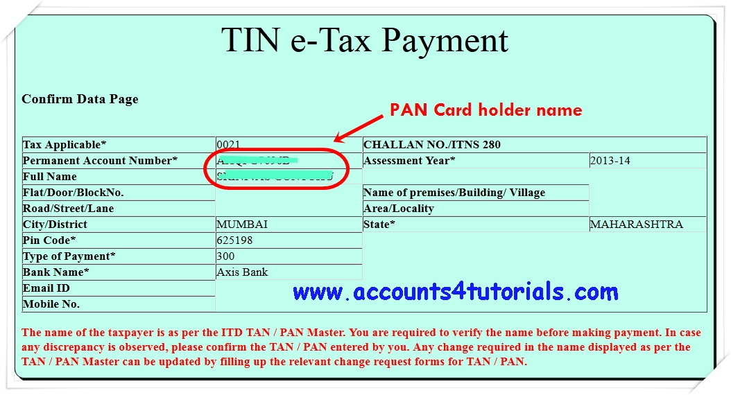 Know Your PAN Name - Accounting & Taxation