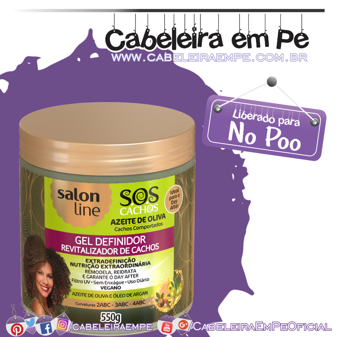 Gel Definidor Azeite de Oliva SOS Cachos - Salon Line (No Poo)