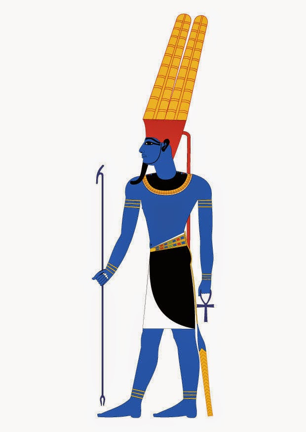 The blue-complexioned Amun was the Supreme Creator and head of the Egyptian pantheon
