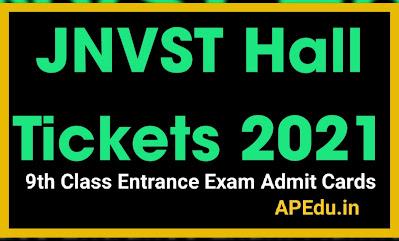 JNVST Hall Tickets 2021 Navodaya 9th Class Entrance Exam Admit Cards navodaya.gov.in.