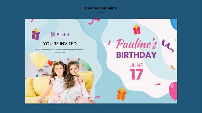Birthday Celebration Banner Template