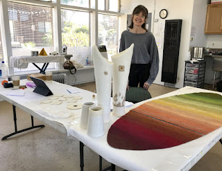 Fiber artist Kim Buchheit in her studio at Mendocino Art Center. Photo © Linda Cloonan