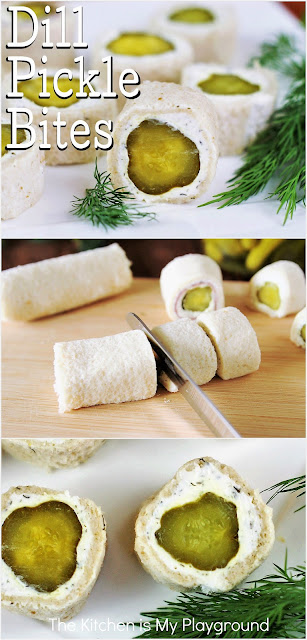 Dill Pickle Bites ~ The crunch and zing of dill pickles in a tasty and easy little bite! They're addictively delicious. www.thekitchenismyplayground.com