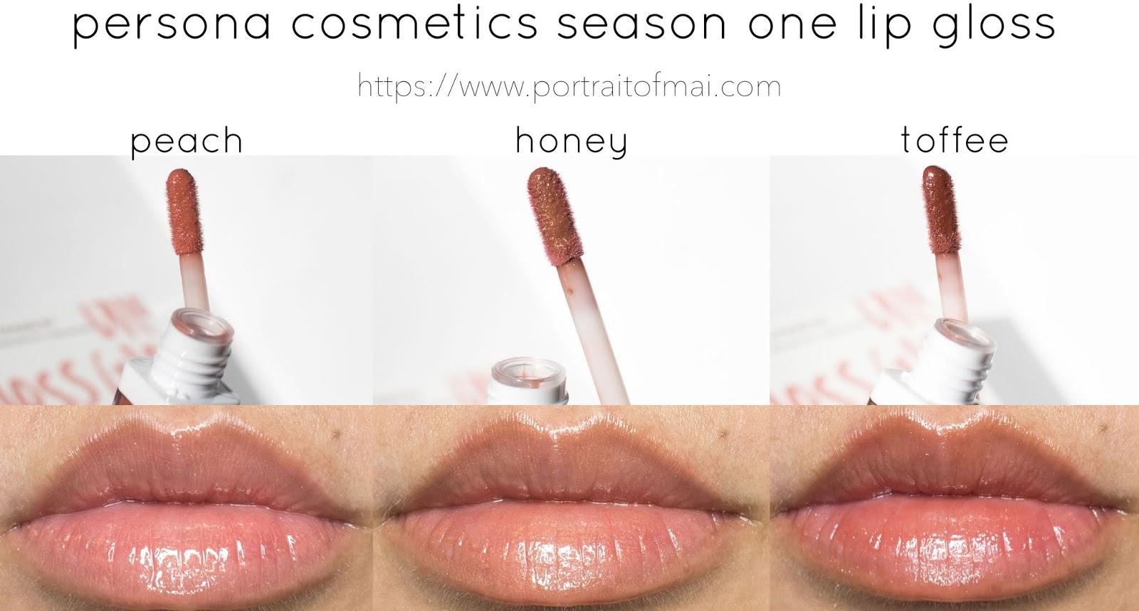 Persona Cosmetics Season One Lip Gloss Swatches and Closeups