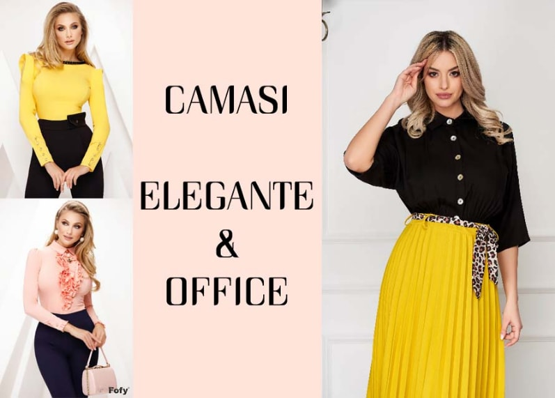 Camasi dama office / elegante ieftine modele noi frumoase