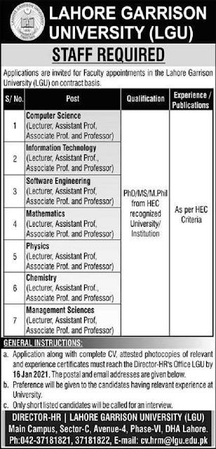 lahore-garrison-university-lgu-jobs-2021-for-teaching-staff-application-form