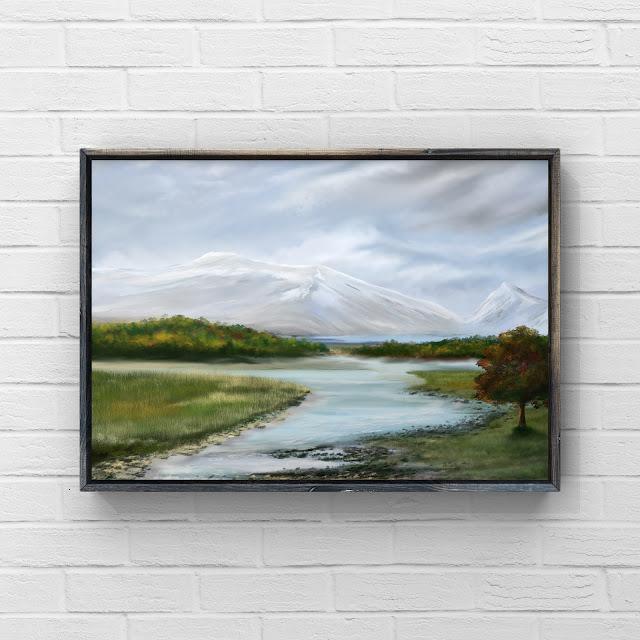 mountains, landscape, snow, artwork