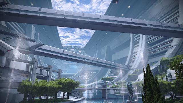 Screenshot from Photo Mode of the Citadel Presidium in Mass Effect Legendary Edition