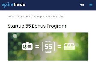 Bonus Forex Tanpa Deposit Axim Trade $55 - Bonus Startup