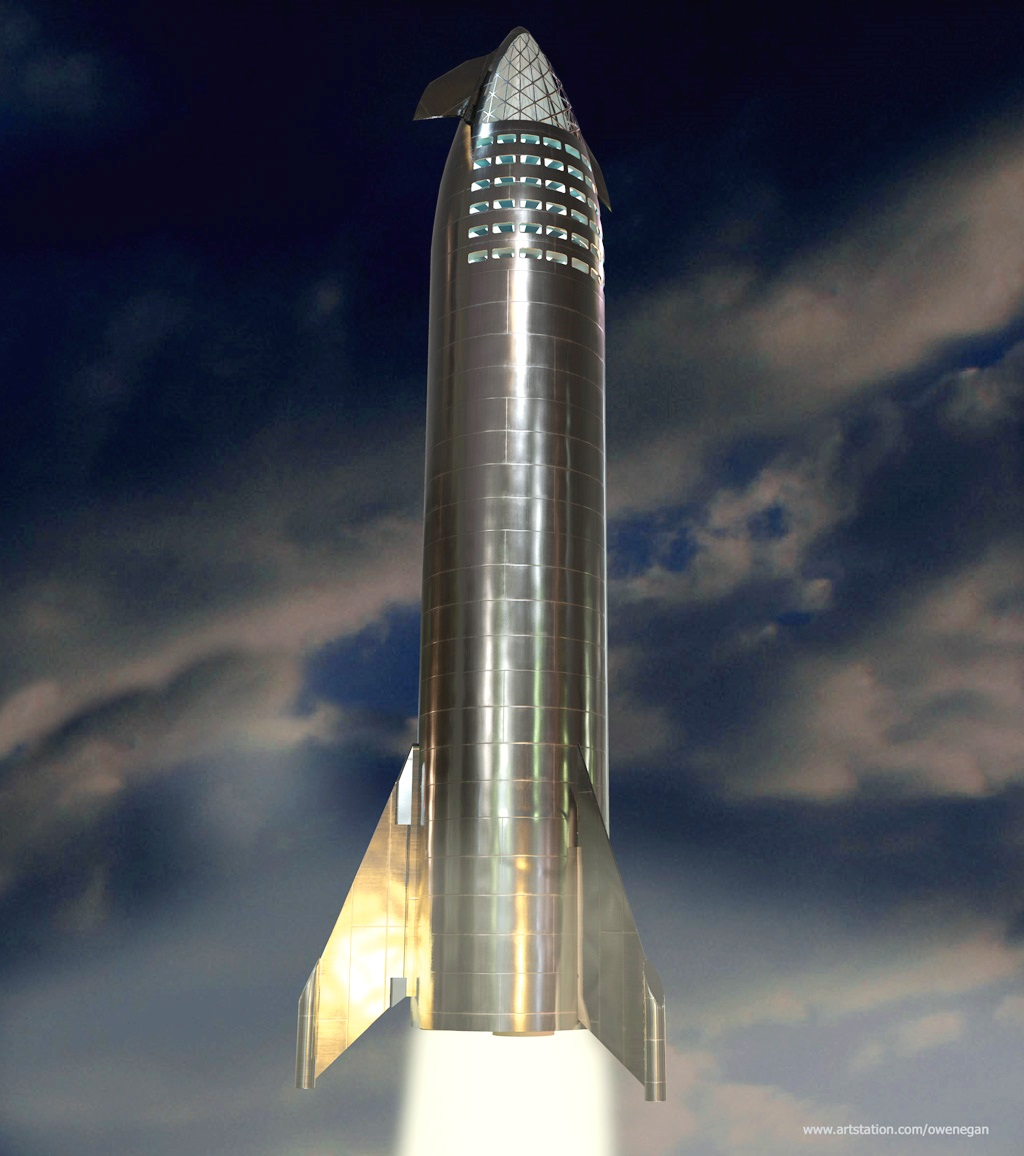 SpaceX stainless steel Starship prototype by Owen Egan