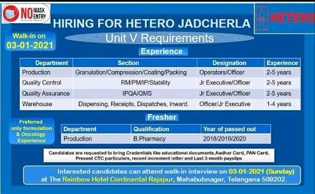 Hetero Labs | Walk-in interview for Jadcherla Location on 3rd Jan 2021