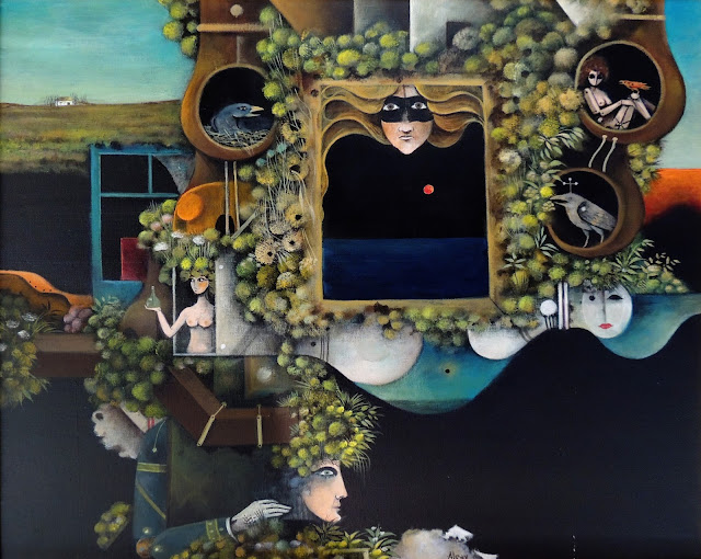 Eduard Alcoy obra arte acrílico lienzo surrealista mascaras