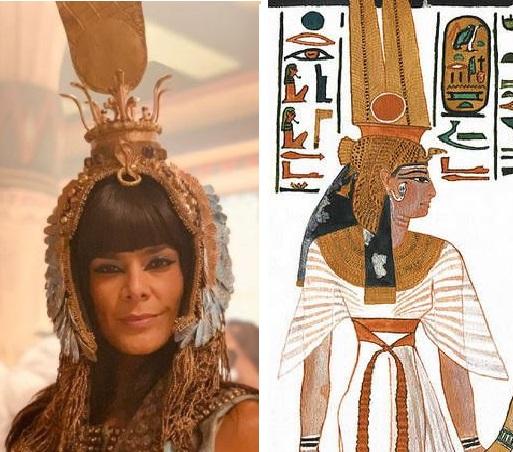 Rainha Aat com coroa e ao lado pintura egipcia com a mesma