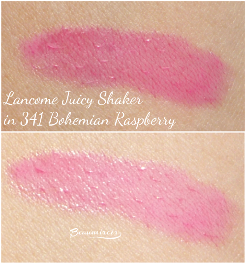 Swatches of Lancome Juicy Shaker lip oil in Bohemian Raspberry: