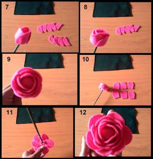 Tutorial membuat hiasan bunga mawar cantik dari kain flanel part 2