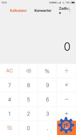 Kalkulator w smarfonie z MIUI