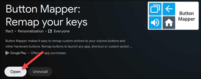 """حدد """"فتح"""" لبدء تشغيل """"Button Mapper""""."""