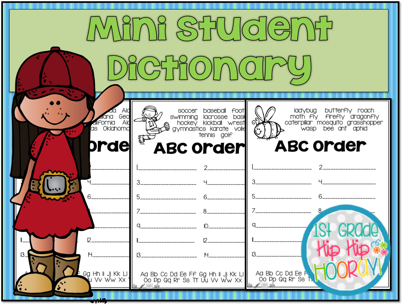 1st Grade Hip Hip Hooray!: Student Dictionary   A to Z