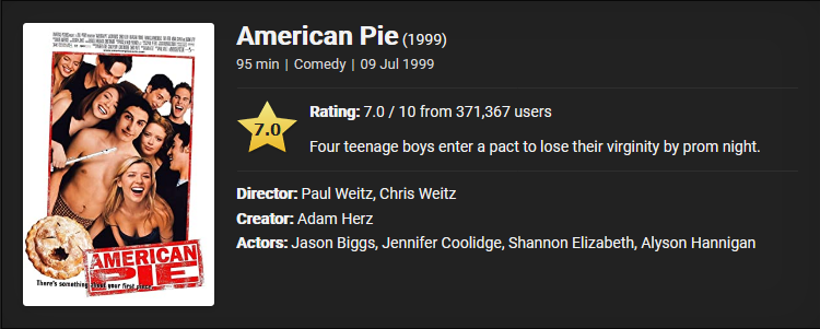 18+ American Pie (1999) Download Full Movie Dual Audio {English With Subtitles} 480p [370MB] || 720p [800MB]