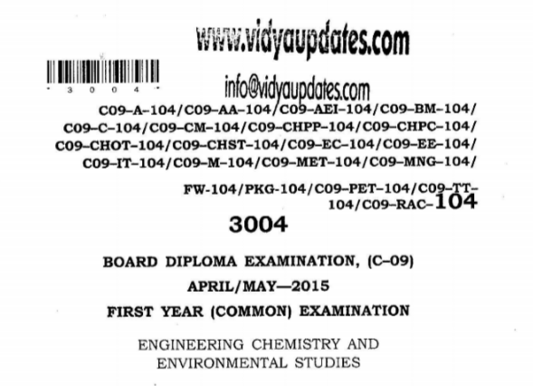 SBTET AP C09 ENGINEERING CHEMISTRY AND ENVIRONMENTAL STUDIES COMMON PREVIOUS QUESTION PAPER