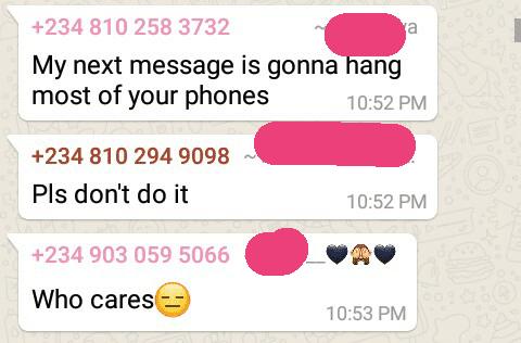Text bomb message
