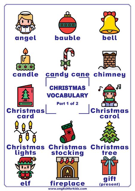 Christmas vocabulary - printable poster for English learners