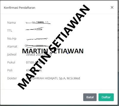 konfirmasi pendaftaran pasien baru
