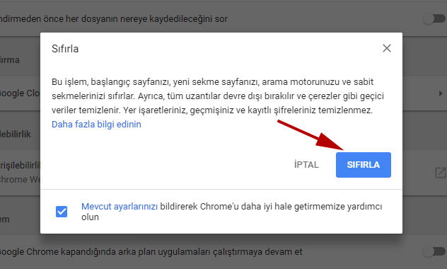 google chrome sıfırla butonu