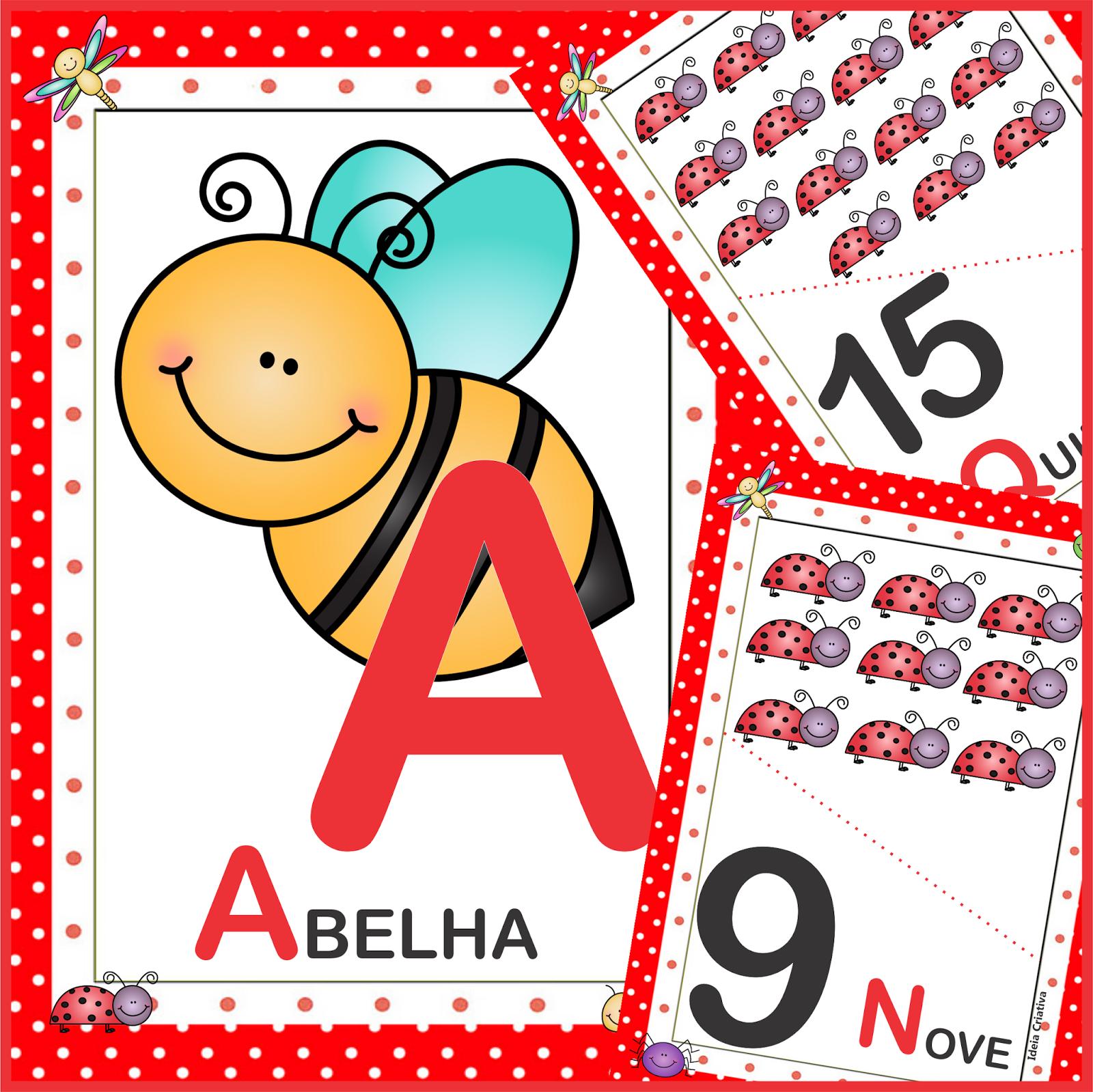 Alfabeto Poá Animais de Jardim Letra Bastão  e Numerais 0 a 20