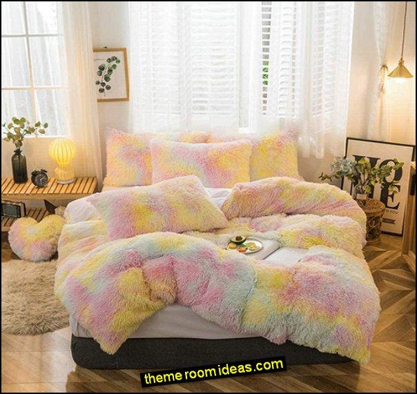 RAINBOW Faux Fur Duvet Cover Sets -  Plush Shaggy Bedding Sets