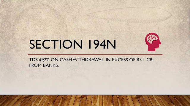 Section 194N:TDS @ 2% on Cash Withdrawal from Banks