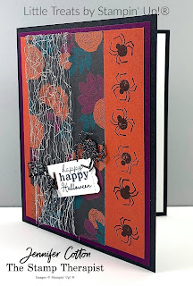 This Halloween card uses Stampin' Up!®'s Little Treats Bundle.  We also used the Magic in this Night Desgner Paper, Metallic Mesh Ribbon, Black Glitter Paper, and Black Glittered Organdy Ribbon.  Check out the blog for a video & supply list.  #StampTherapist #StampinUp