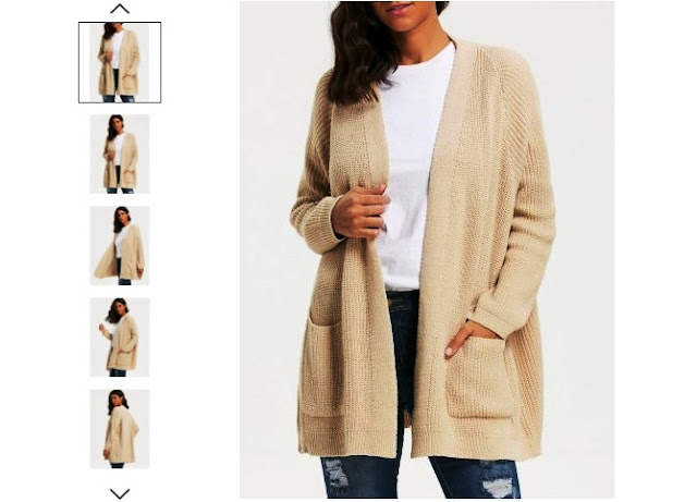 Pockets Knit Sweater Cardigan - Khaki - One Size