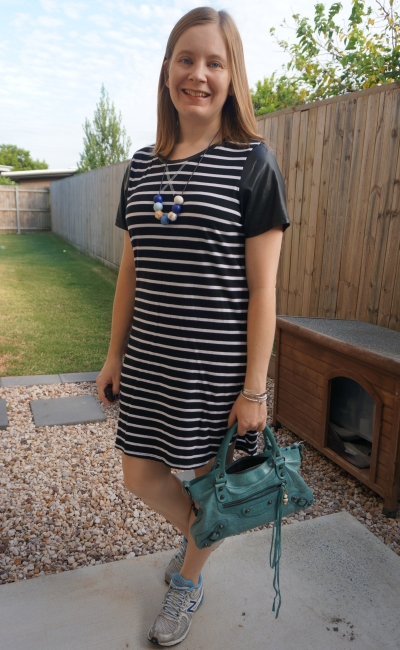 all about eve black white striped tee dress contrast sleeves sporty outfit with new balance and Balenciaga first | awayfromblue