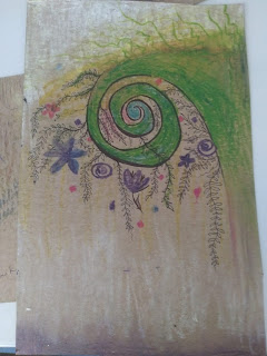 green spiral with various flora attached. purple and white gradient background at the top and bottom