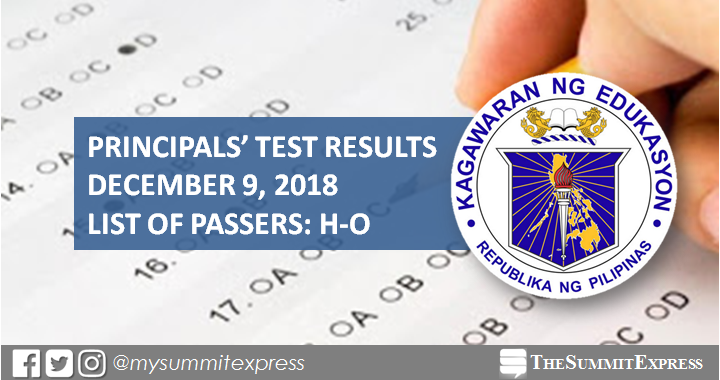 H-O List of Passers: December 2018 Principals' Test Result