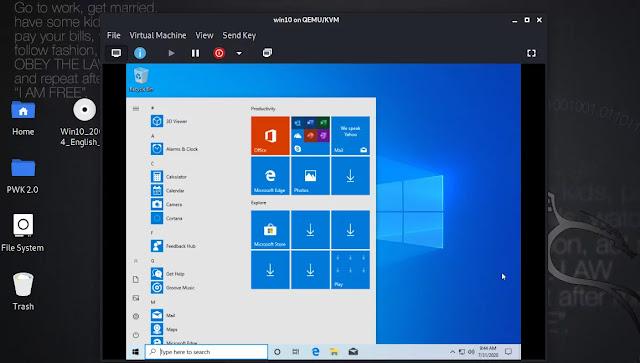 Windows 10 is running under Kali Linux