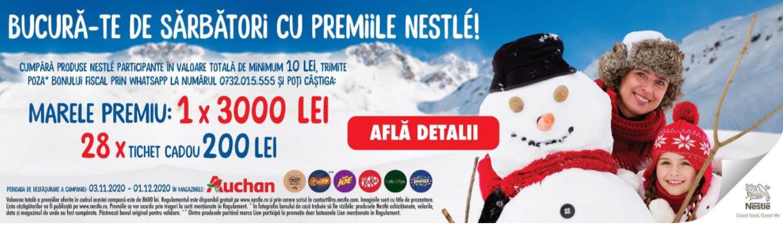 Concurs Nestle si Auchan - Castiga 3000 lei si Tichete Cadou Sodexo - bani - castiga.net