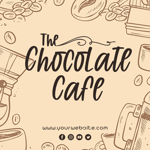 Chocolate Cafe Social Media Post Design Inspiration Idea