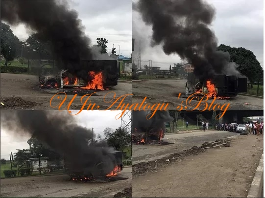 Bullion Van Loaded With Money Catches Fire In Lagos