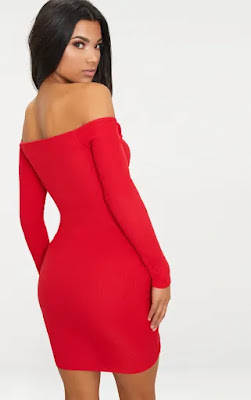 Red ribbed long sleeve bardot ruched bodycon party dress back side